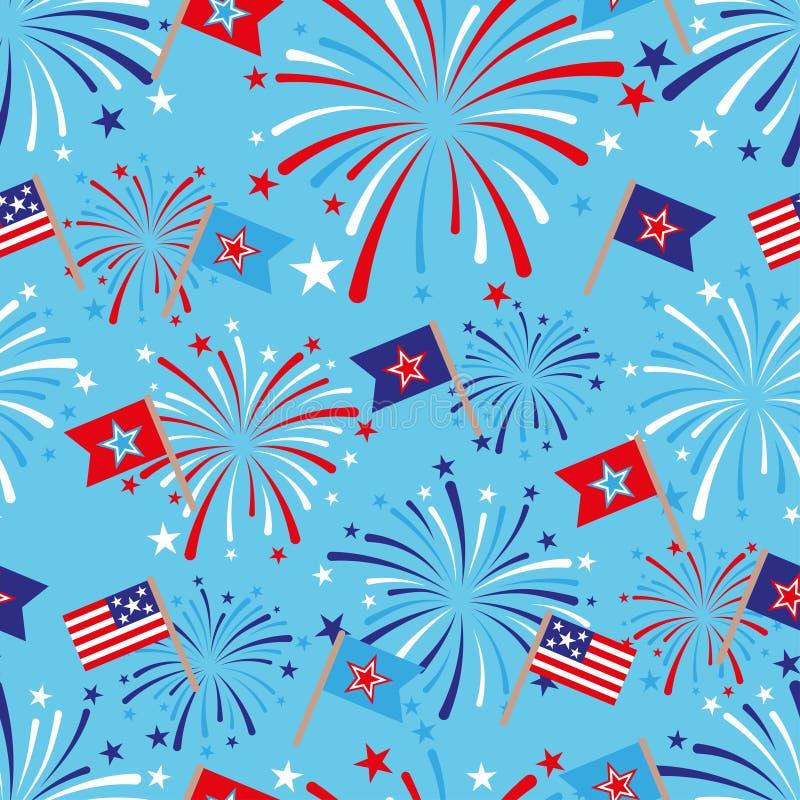4-ая из картины в июле безшовной с фейерверками и флагами иллюстрация штока