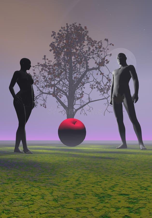 Адам и канун и яблоко иллюстрация штока
