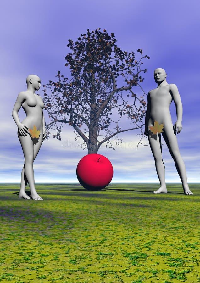 Адам и канун и яблоко иллюстрация вектора