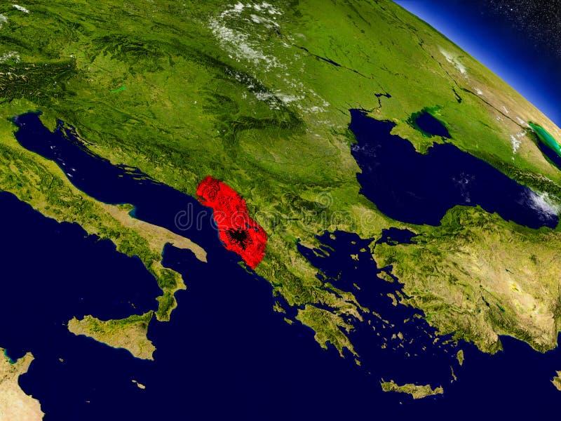 Download Албания с врезанным флагом на земле Иллюстрация штока - иллюстрации насчитывающей орбита, топография: 81803521