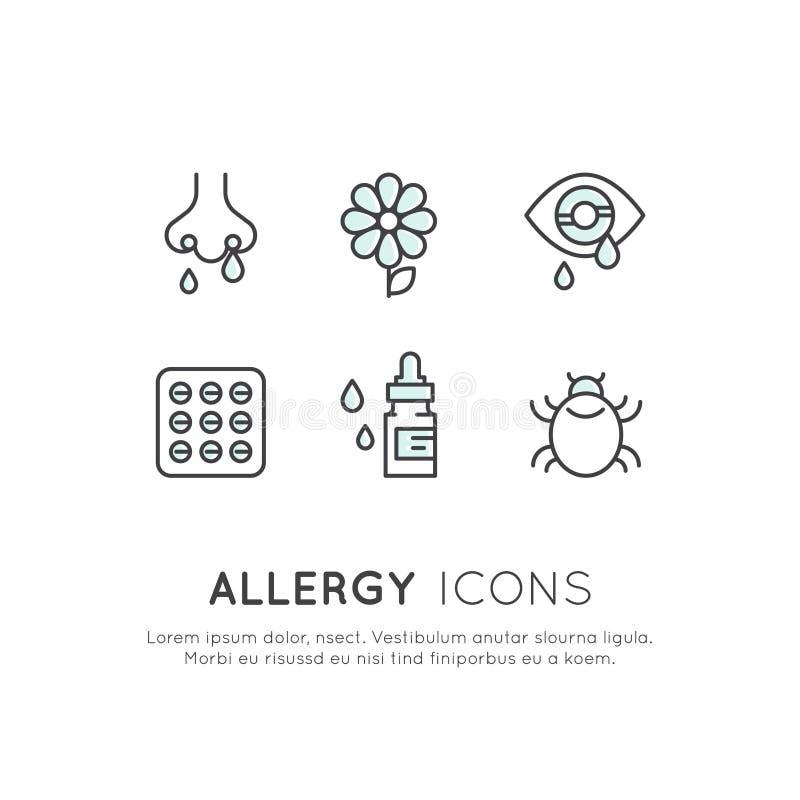 Аллергены, болезнь сезона или весны, нездоровое, аллергия и нетерпимость иллюстрация штока