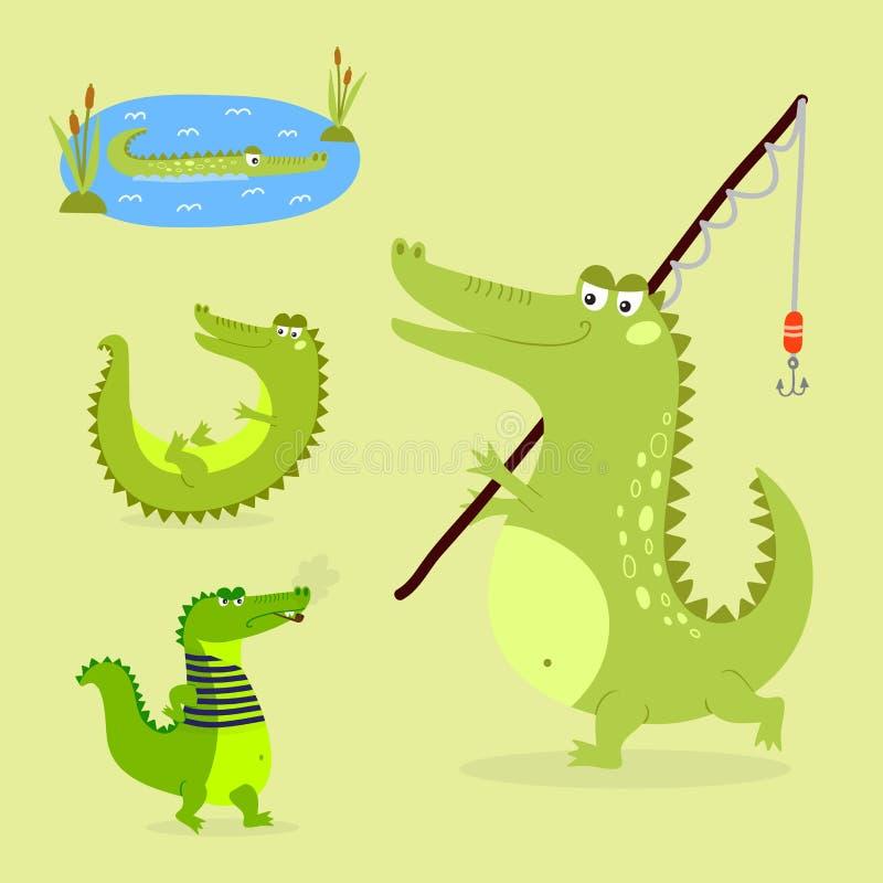 Аллигатора гада реки живой природы хищника крокодила шаржа иллюстрация вектора зеленого смешного австралийского плоская бесплатная иллюстрация