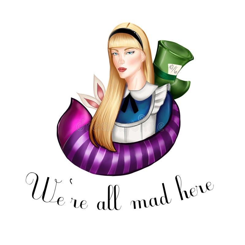 Алиса в предпосылке иллюстрации страны чудес нарисованной рукой иллюстрация штока