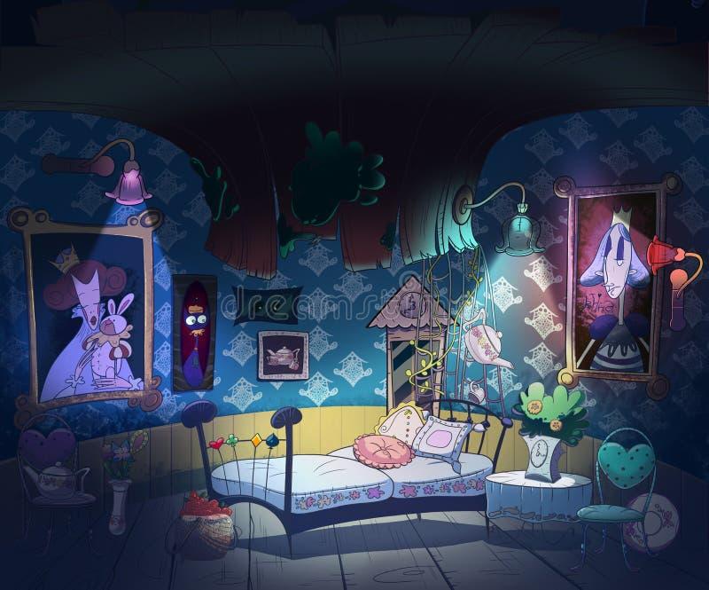 Алиса в стране чудес, книжной иллюстрации детей иллюстрация штока