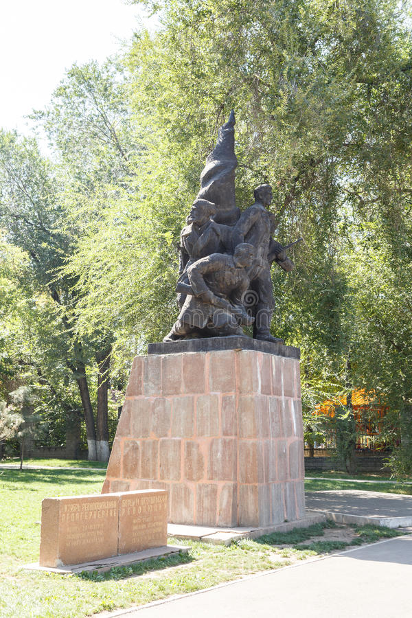 Алма-Ата, Казахстан - 28-ое августа 2016: Советский переулок памятников - f стоковое изображение rf