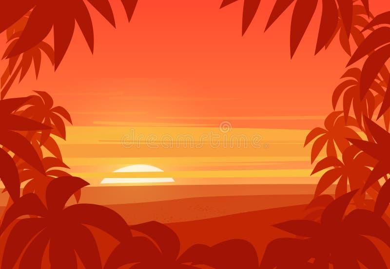 ладонь предпосылки тропическая Заход солнца на пляже лета бесплатная иллюстрация