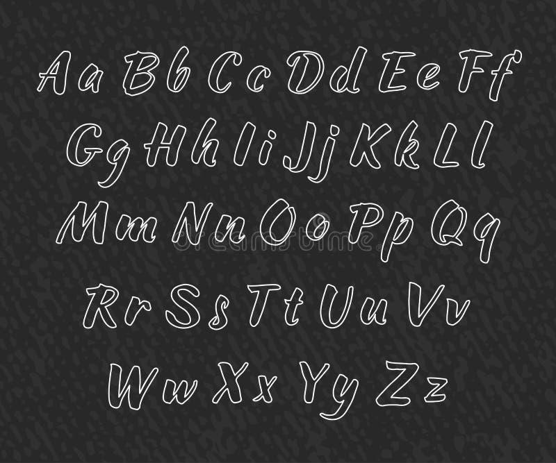 Алфавит вектора рукописный Uppercase и строчные буквы бесплатная иллюстрация