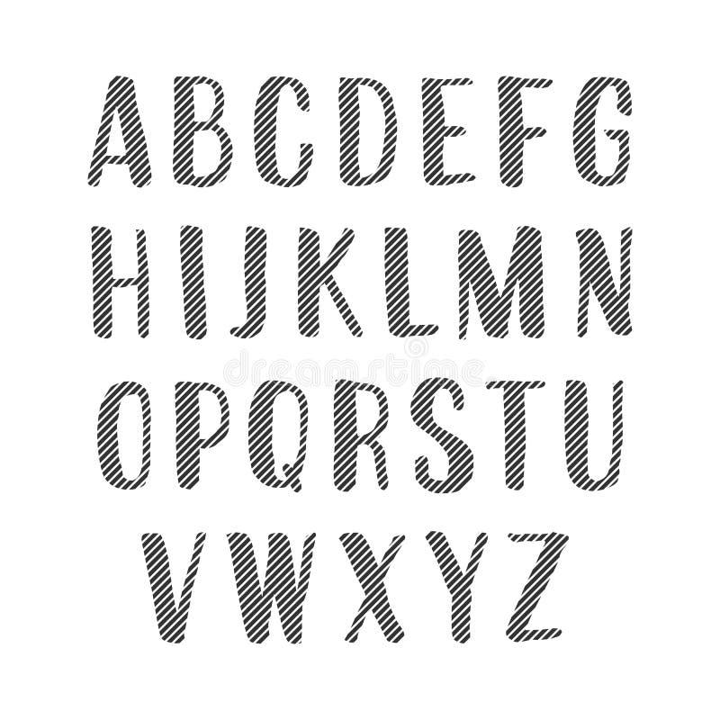Алфавит вектора рукописный Uppercase Striped письма бесплатная иллюстрация