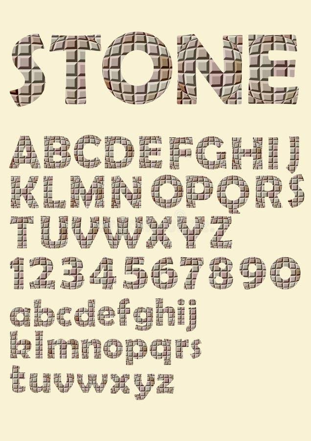 Алфавит в каменном дизайне текстуры кубов, uppercase письмах, номерах иллюстрация штока
