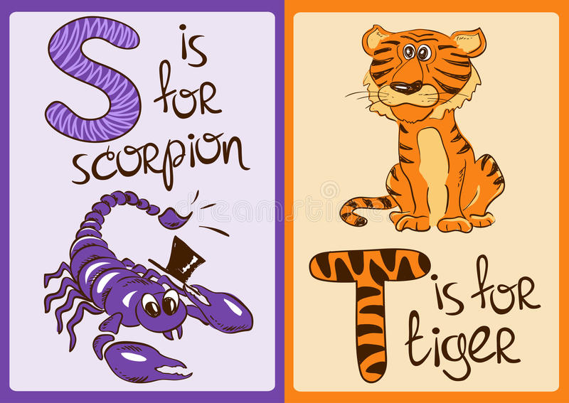 Алфавит детей с смешными животными скорпионом и тигром бесплатная иллюстрация