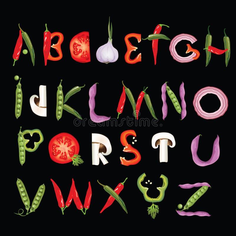 Алфавит еды сделанный овощей Шрифт Eco Здоровое письмо иллюстрация штока