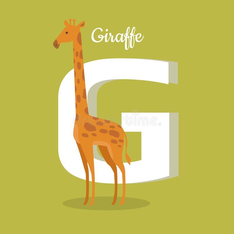 Алфавит животных Письмо - g иллюстрация штока