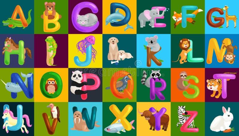 Алфавит животных установил для образования abc детей в preschool иллюстрация штока