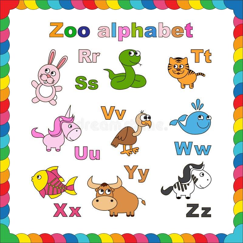 Алфавит зоопарка плана, который нужно покрасить иллюстрация вектора