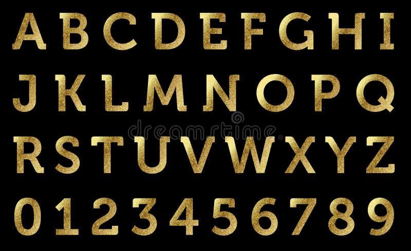алфавит золотистый иллюстрация вектора