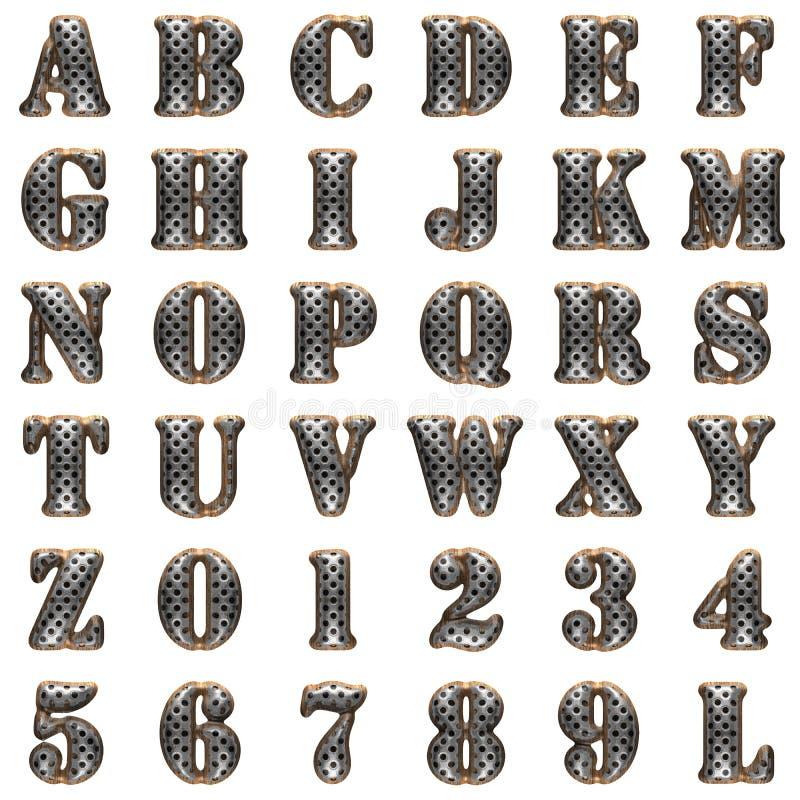Алфавит металла и древесины на белой предпосылке иллюстрация вектора
