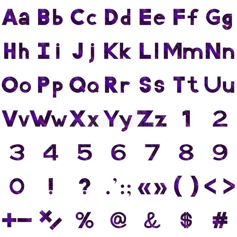 Алфавит, номера и знаки установили, серпентины иллюстрация вектора