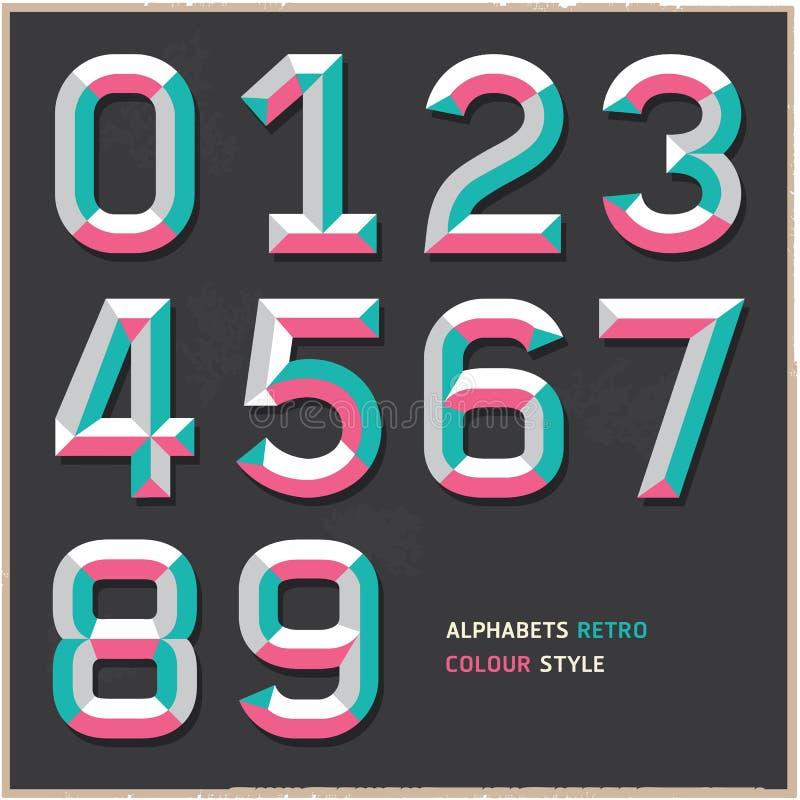 Алфавит нумерует винтажный стиль цвета. бесплатная иллюстрация