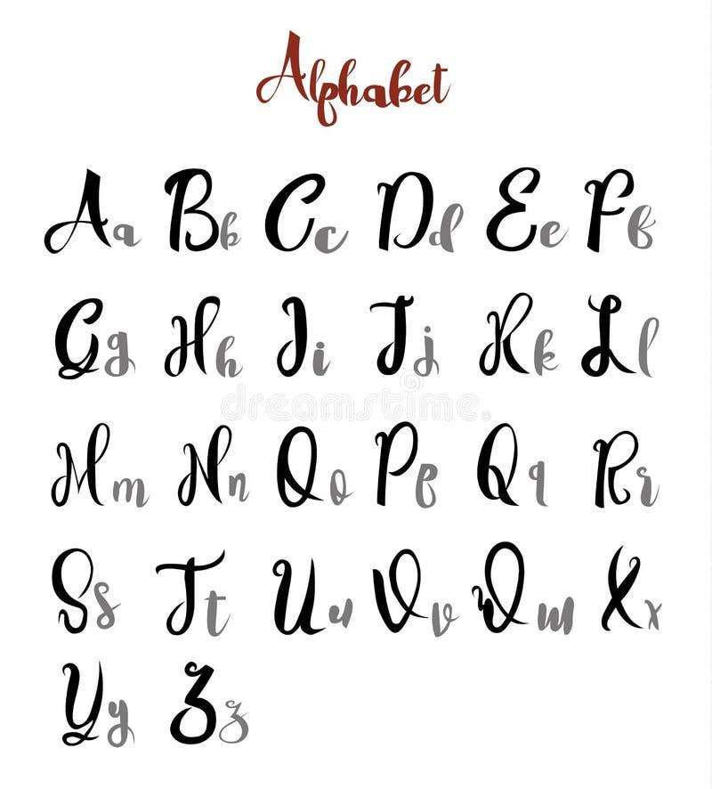 Алфавит помечает буквами вектор каллиграфии литерности иллюстрация штока
