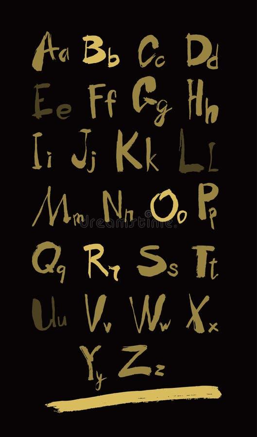 Алфавит помечает буквами строчное, uppercase и нумерует золото на черноте иллюстрация вектора