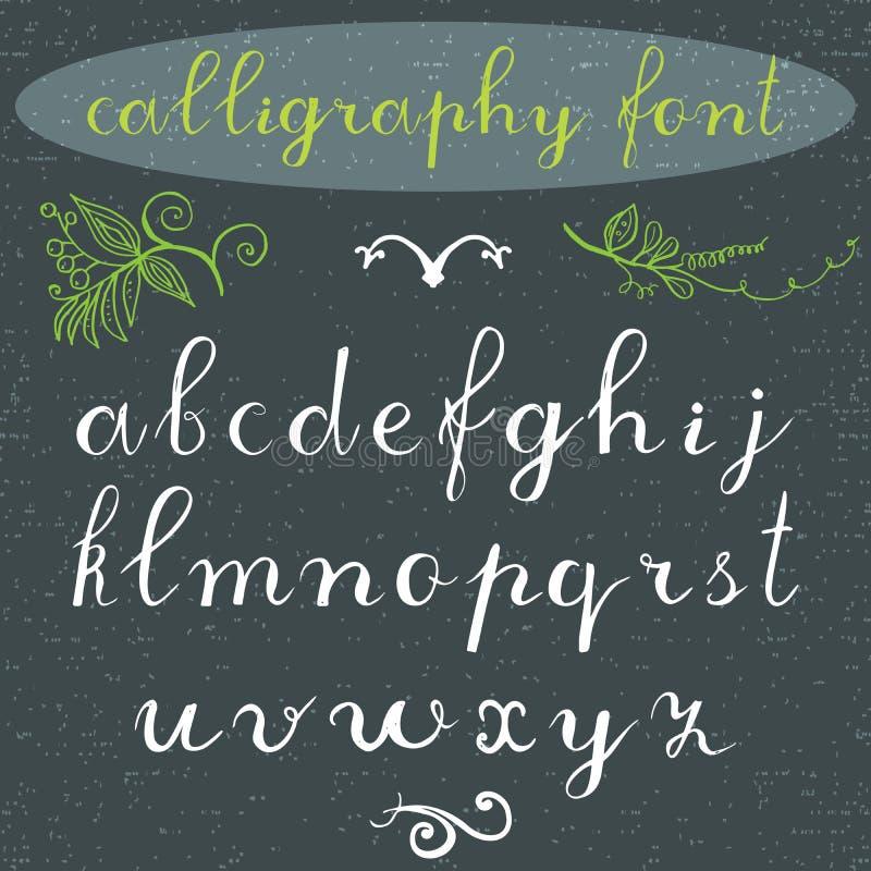 Алфавит помечает буквами строчную букву, руку нарисованный шрифт каллиграфии элементы алфавита scrapbooking вектор Буквы алфавита иллюстрация вектора