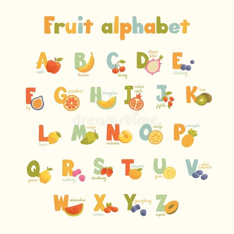 Алфавит полного вектора милый для детей в ярких цветах стоковые изображения