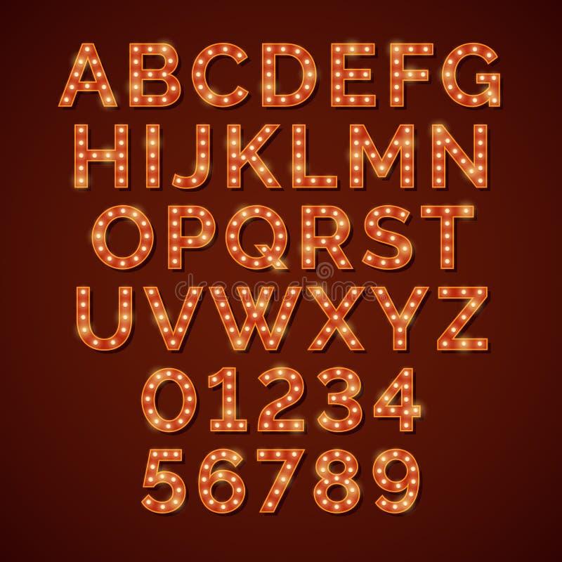Алфавит ретро электрической лампочки яркий, шрифт вектора иллюстрация вектора