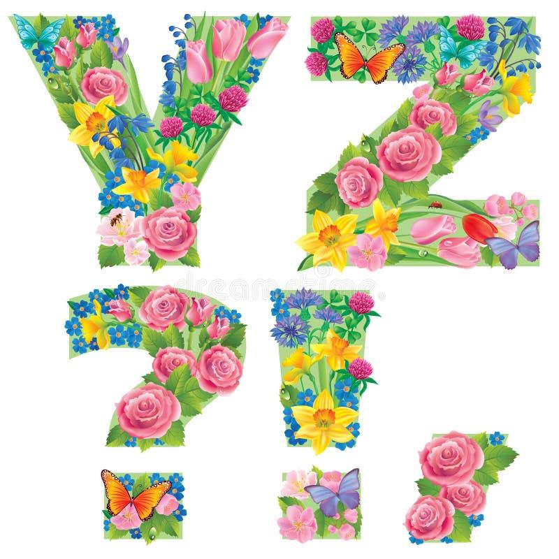 Алфавит цветков YZ бесплатная иллюстрация