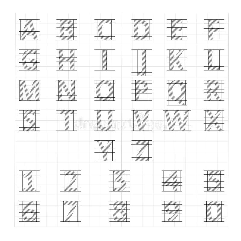 Алфавит чертежной бумаги Письма эскиза чертежа вектора иллюстрация вектора
