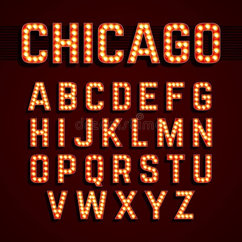 Алфавит электрической лампочки стиля светов Бродвей иллюстрация штока