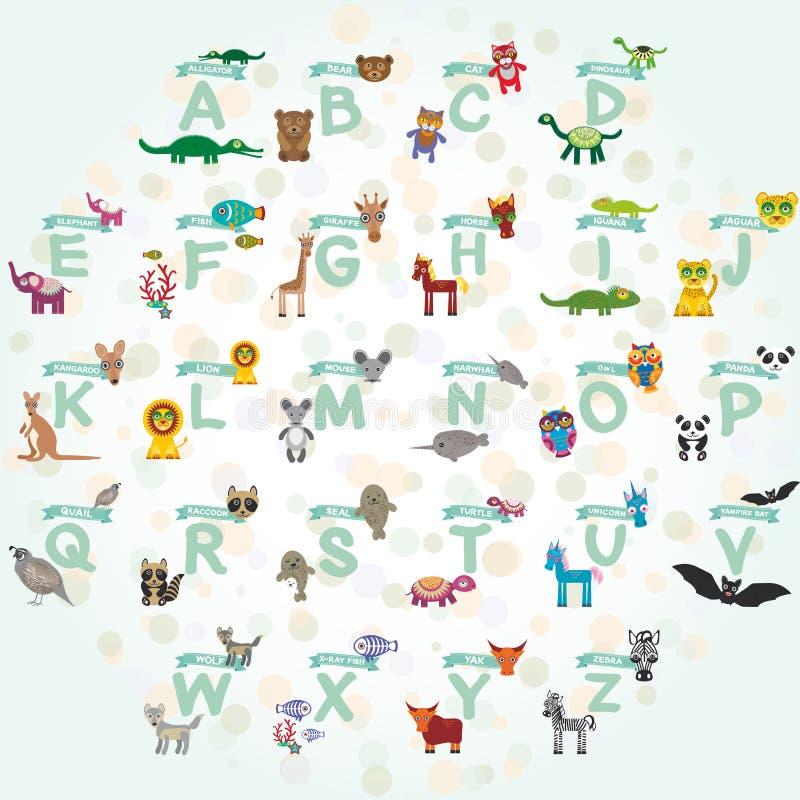 Алфавит для детей от a к z Комплект смешного характера животных шаржа звеец вектор иллюстрация вектора