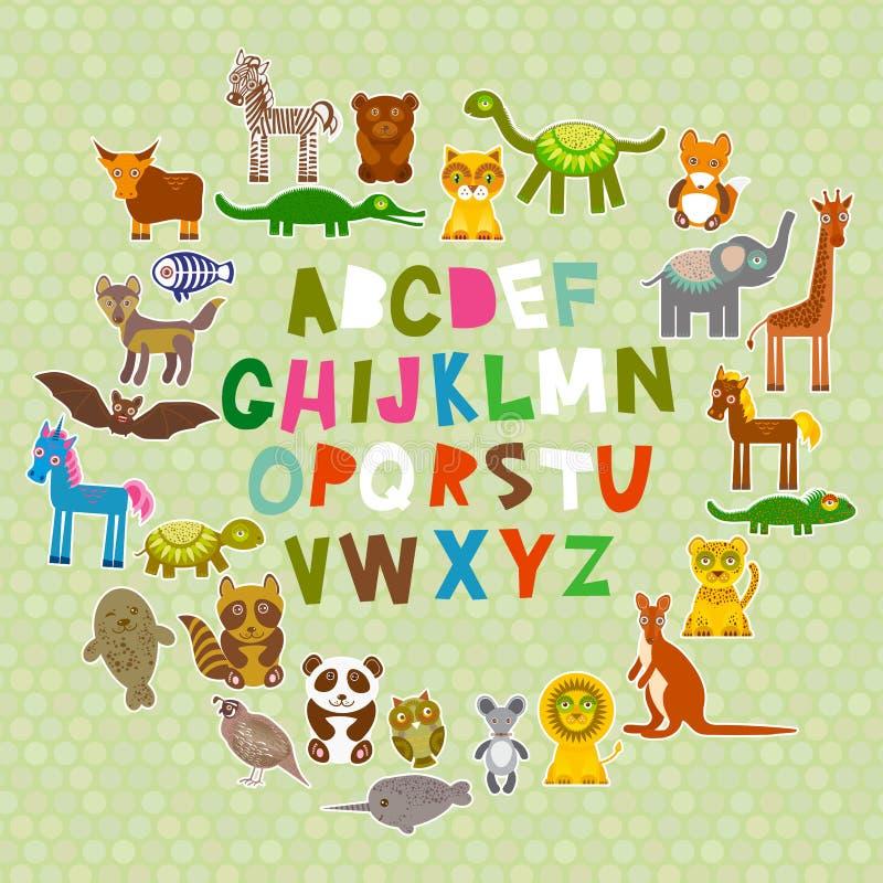Алфавит для детей от a к z Комплект смешного характера животных шаржа зоопарк на зеленой предпосылке точек польки вектор иллюстрация вектора