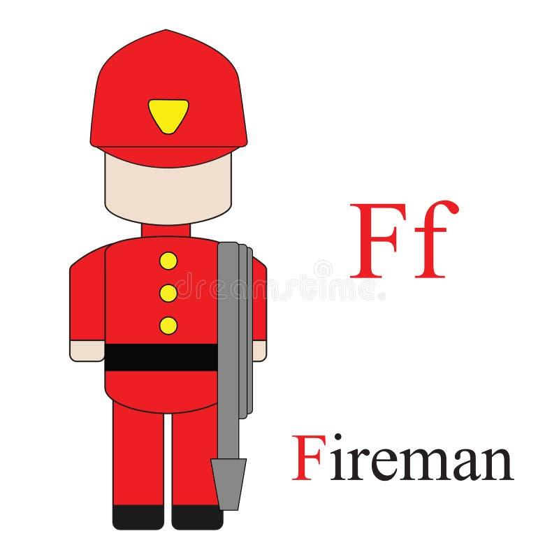 Алфавит f письма профессий иллюстрация вектора