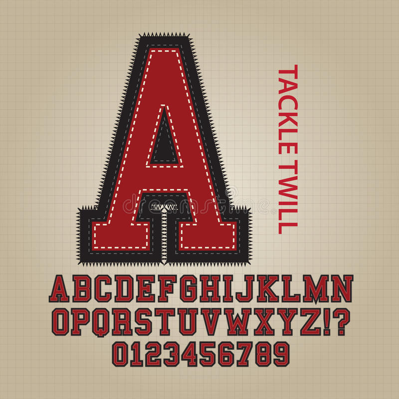 Алфавит Twill снасти и вектор номеров иллюстрация штока