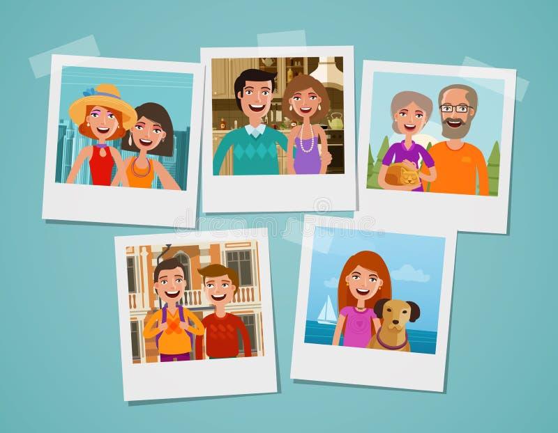 Альбом семейного фото Концепция людей, родителей и детей alien кот шаржа избегает вектор крыши иллюстрации иллюстрация штока