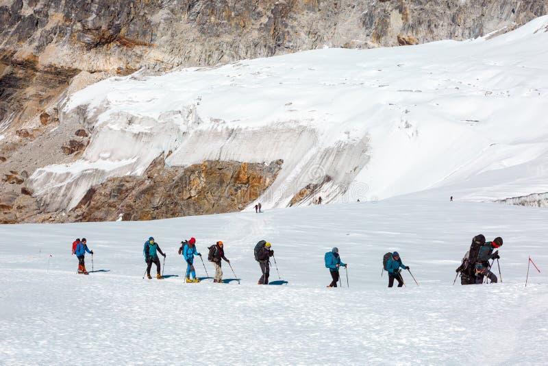 Альпинисты идя на снежный ледник среди высоких пиков стоковые изображения