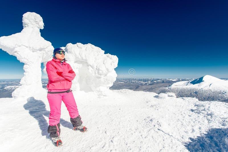 Альпинист, верхняя часть, женщина, утеха стоковое фото