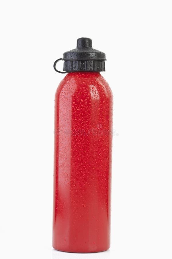 Алюминиевая бутылка с водой, конец вверх стоковое изображение