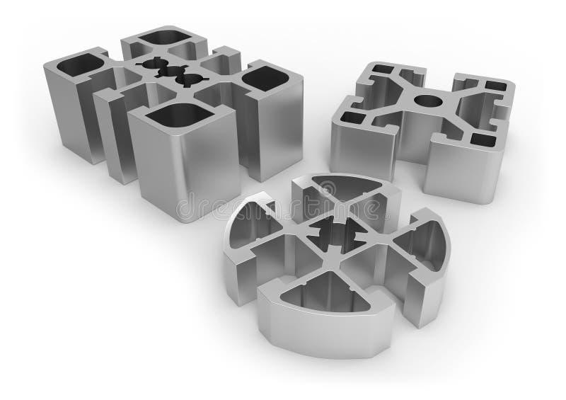 Алюминиевые образцы профиля иллюстрация штока