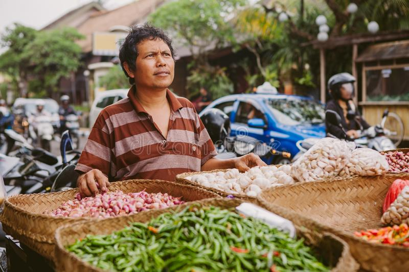 А seller of vegetables in the market, Bali stock images