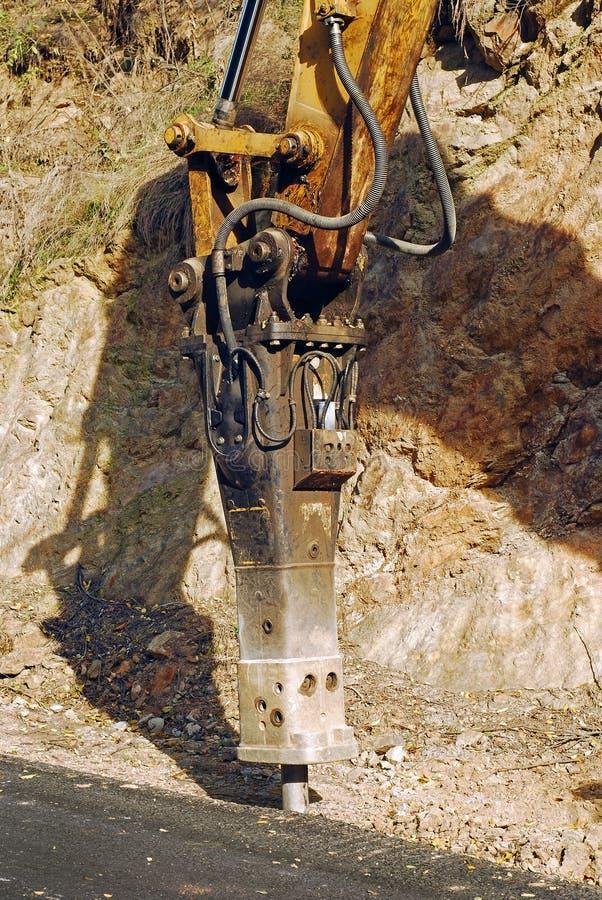 Бабка сверлильного станка jackhammer экскаватора стоковая фотография