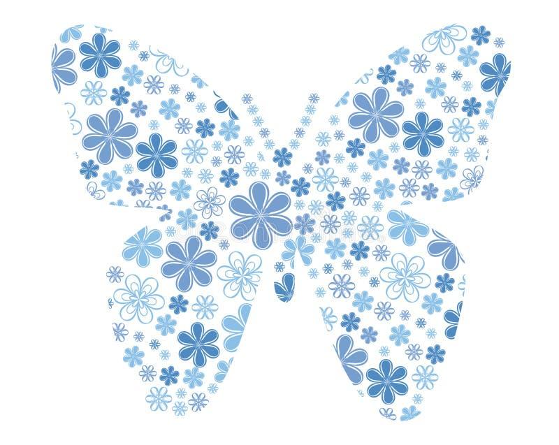 Бабочка вектора с текстурой цветка иллюстрация штока