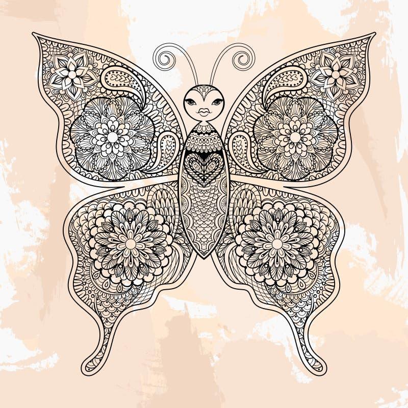 Бабочка вектора Zentangle, татуировка в стиле битника орнаментально бесплатная иллюстрация