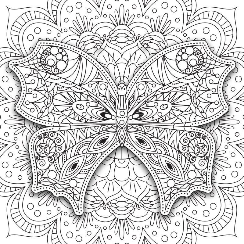 Бабочка Вручите вычерченный этнический Printable вектор в стиле doodle Страница книжка-раскраски для взрослых и более старых дете иллюстрация штока