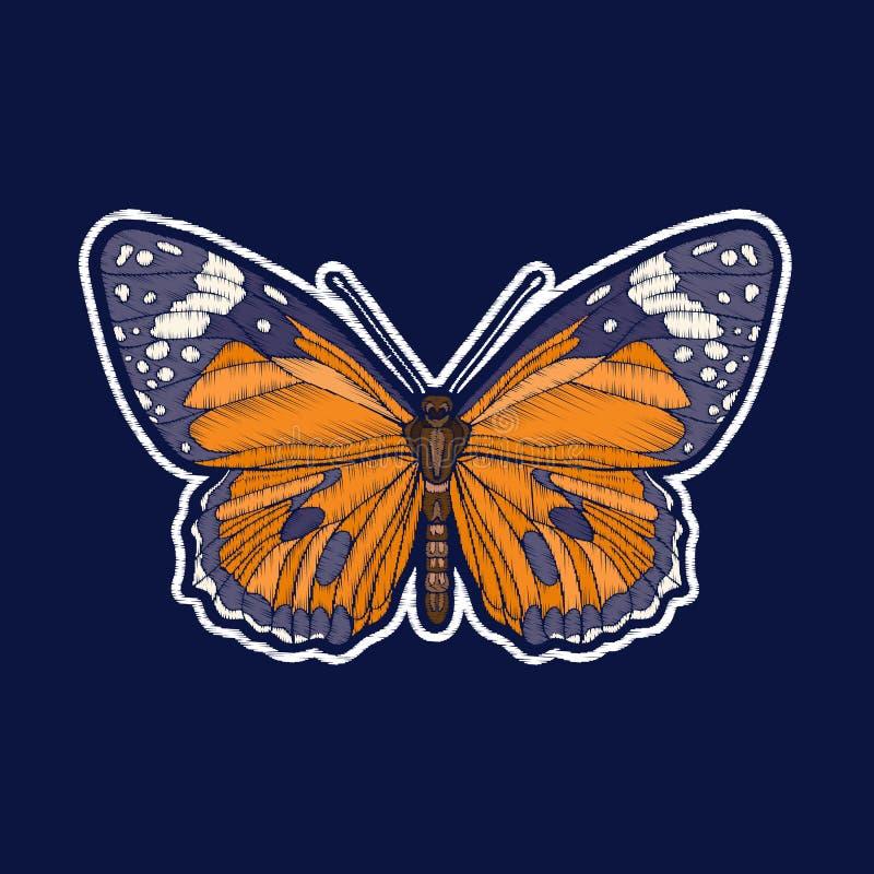 Бабочка Вышивка значки заплаты fachion иллюстрация штока