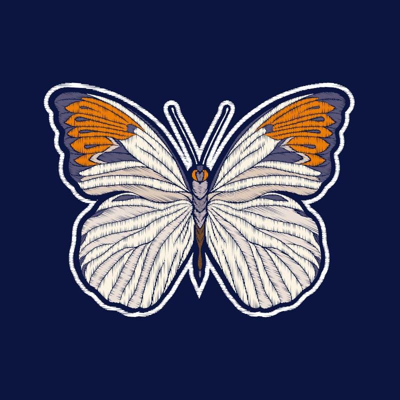 Бабочка Вышивка значки заплаты fachion иллюстрация вектора