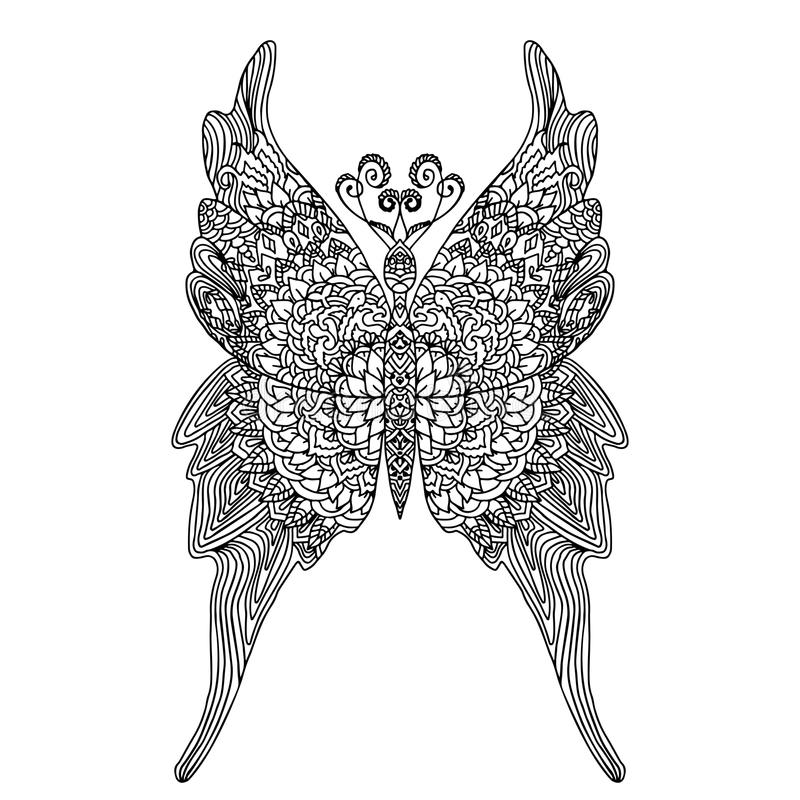 Бабочка в стиле мандалы для книжка-раскраски взрослых бумага расцветки Анти--стресса Картина Zentangle также вектор иллюстрации п бесплатная иллюстрация