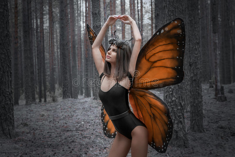 Бабочка девушки против красных крылов в черном лесе bodysuit стоковые изображения