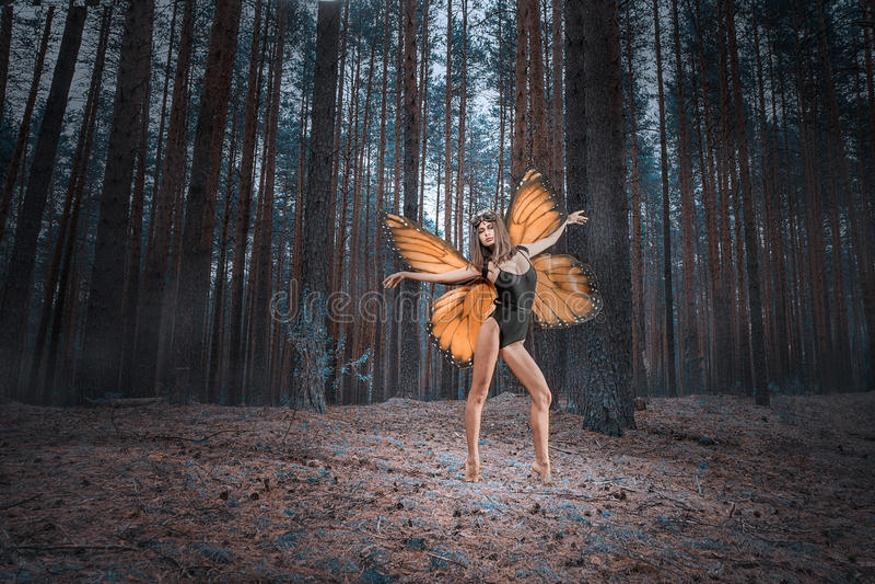 Бабочка девушки против красных крылов в черном лесе bodysuit стоковое изображение rf