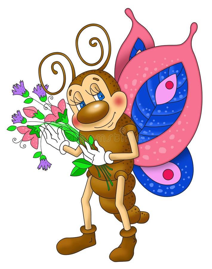 Бабочка держа букет цветков стоковые фотографии rf